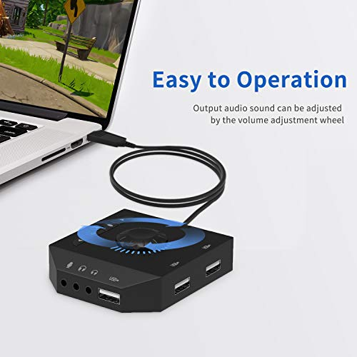 USB Hub with Audio Adapter - Tendak External Sound Card with 3 5mm  Headphone Microphone Jack and Volume Control 3 Port USB Hub for Laptop PC  HDD Disk