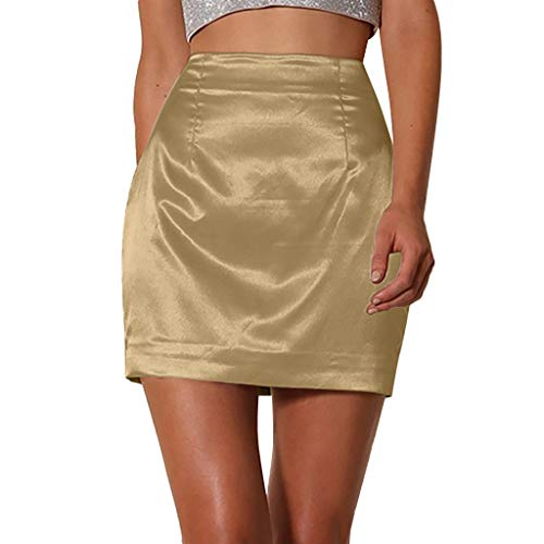 ℱLOVESOOℱ Women Smooth Silk Zipper Skirt Dress Fashion Hip Skirt Ladies Solid Sexy Satin Smooth A-Line Skirt High Waist Yellow