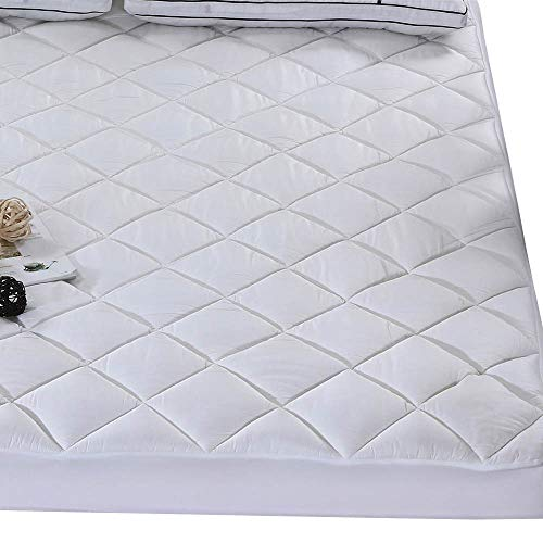 Royal Hotel Bamboo Mattress Pad Cover Queen size Pillowtop Hypoallergenic Down Alternative Mattress Topper 300TC Bamboo Cover with 8-18 Inch Deep pocket