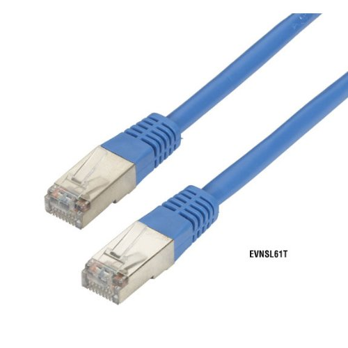 0.9-m Riser Stranded Blue PVC CAT5 Shielded Twisted-Pair Cable STP T568B 3-ft. 4-Pair RJ-45 CMR