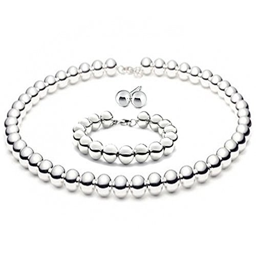 (8mmLARGE Italian Sterling Silver BALL Bead Necklace 16