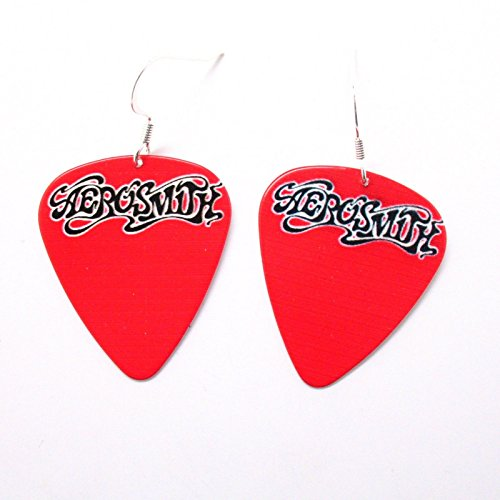 Red Aerosmith Earrings Music Guitar Pick Rock and Roll Band Punk