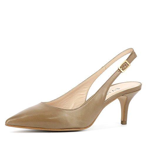 Evita Shoes Giulia Escarpins Sling Cuir Lisse Taupe