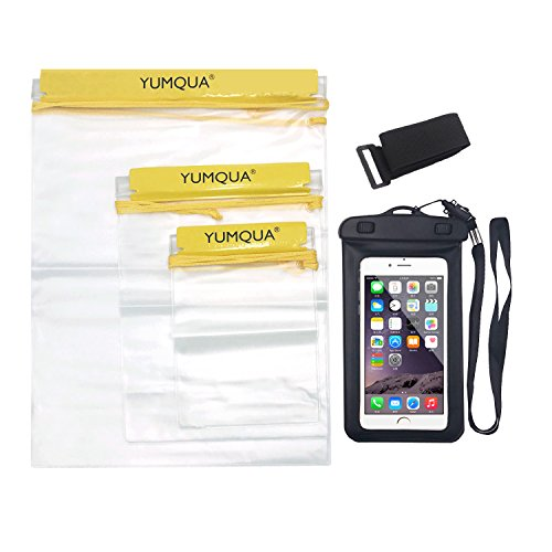 YUMQUA WPC-04 3 x Clear + 1X Phone Pouch Water Resistant Tight Dry Bags& Cases For Camera Mobile Backpack Kayak Military( 4 Bags in Total)