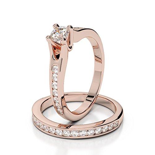 Or Rose 18carats 750/1000CT G-H/VS sertie de diamants Coupe ronde de mariage Bague de fiançailles et ensemble de Agdr-2047
