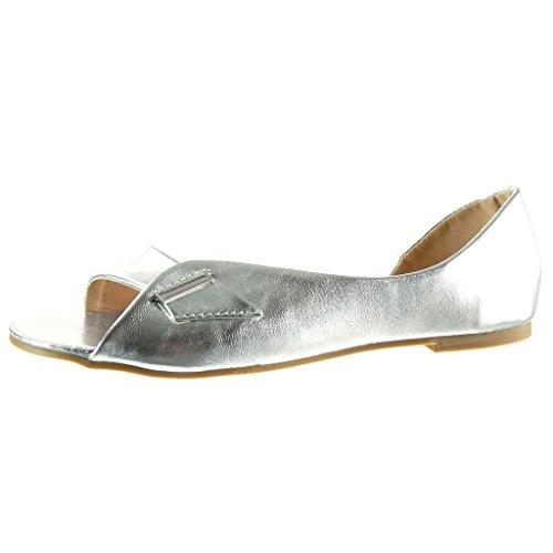Angkorly - Chaussure Mode Sandale ouverte sexy femme lanière boucle doré Talon bloc 1 CM - Argent