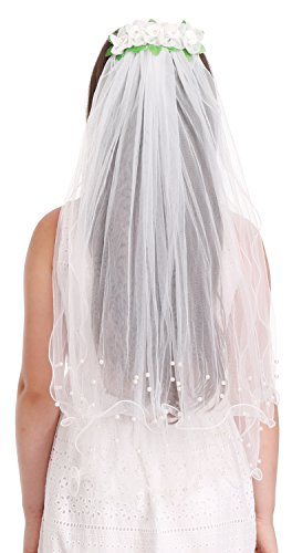Bienvenu Girls 2-Tier Beaded Veil with Attached Floral ()
