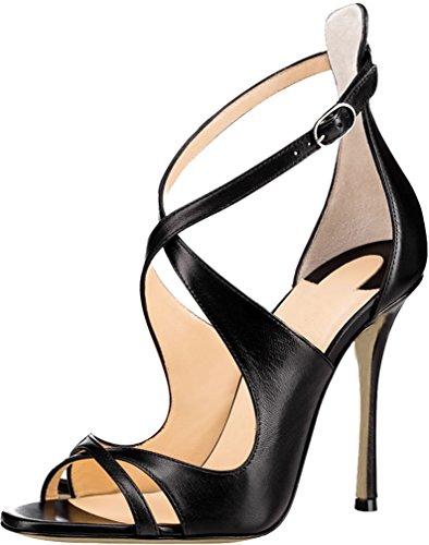 Calaier Mujer Cacatcac Tacón De Aguja 10CM Sintético Hebilla Sandalias de vestir Zapatos Negro