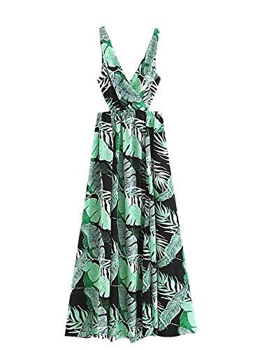 Floerns Women Sexy Sleeveless V-Neck Split Summer Beach Floral Print Maxi Dress Green S