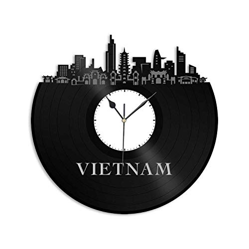 VinylShopUS - Vietnam Vinyl Wall Clock Skyline Unique Gift for Friends Home and Office | Room Decoration