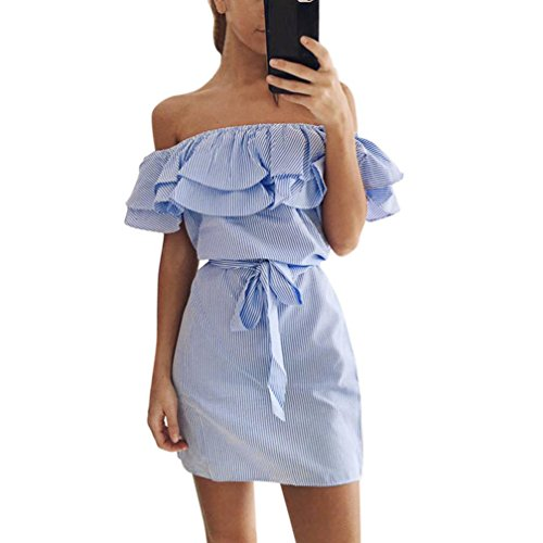 Fheaven Women Summer Lace Striped Off Shoulder Ruffle Dress With Belt (S, Blue)