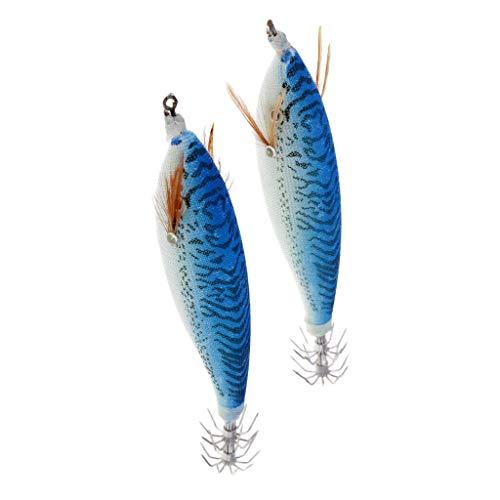 Ameglia Luminous Squid Jigs Hard Fishing Lures Simulation Shrimp Design Bait Hooks (Color - Blue)