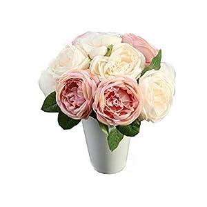 Vertily Home Decoration,Artificial Rose Silk Flowers 5 Flower Head Leaf Garden Decor DIY Pink,Heads Bridal Wedding Bouquet for Home Garden Party Wedding Decoration 21