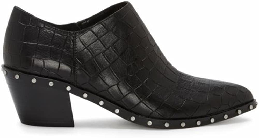 1.STATE Lizba Black Leather Pointed Toe Studded Chunky Heel Ankle Bootie
