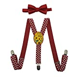 Qujki Sunflower Field Suspenders Bowtie Set-Adjustable Length