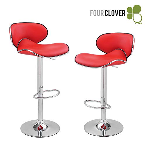 Set of 2 Synthetic Leather Modern Adjustable Swivel Barstools Hydraulic Chair Bar Stools Red