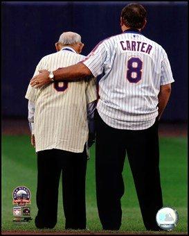 Yogi Berra & Gary Carter Final Game at Shea Stadium 2008 Art Poster PRINT Unknown 8x10