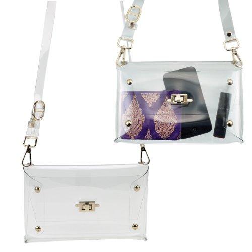 Shoulder w Closure Handbag Clear Clutch Turn Key vw4a77dq