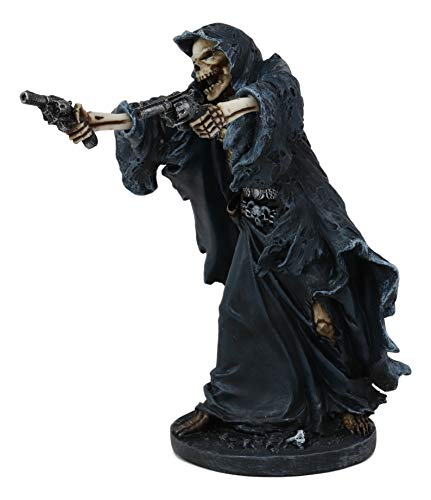 Ebros Gift Gothic Grim Reaper Skeleton Assassin with Dual Pistols Figurine 9 Tall Day of The Dead DOD Skulls Ossuary Macabre Graveyard Spooky Halloween Death Reapers Decor Statue