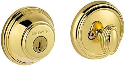 Baldwin Prestige 380 Round Single Cylinder Deadbolt Featuring SmartKey in Lifetime Polished Brass