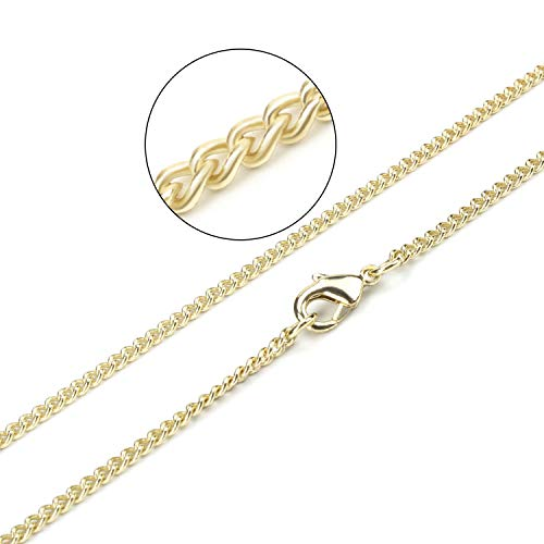 Wholesale 12PCS Gold Plated Solid Brass Curb Chain Bulk for Jewelry Making (30 Inch(2MM)) -