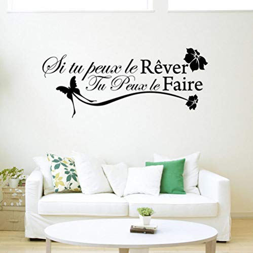 xiaomeihao Vinyl Wall Sticker French Dream Motto DIY Simple Fashion Home Decoration Living Room Boy Bedroom Art Murals 135X55Cm