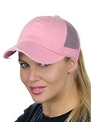 C.C Ponycap Messy High Bun Ponytail Adjustable Mesh Trucker Baseball Cap Hat, Distressed Light Pink]()