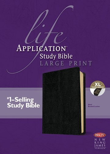 NKJV LIFE APPLICATION STUDY BIBLE LARGE PRINT BONDED LEATHER BLACK INDEX by Tyndale (Large Print, 1 Sep 2013) Bonded Leather - Bonded Leather Index