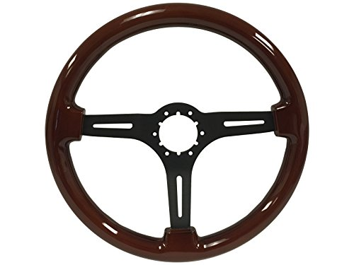1963 -1982 GM Chevy Corvette, Wood Steering Wheel with Black Center, also fits Camaro, El Camino, Chevelle, Impala, Nova, Pickup Truck with wood wheel option