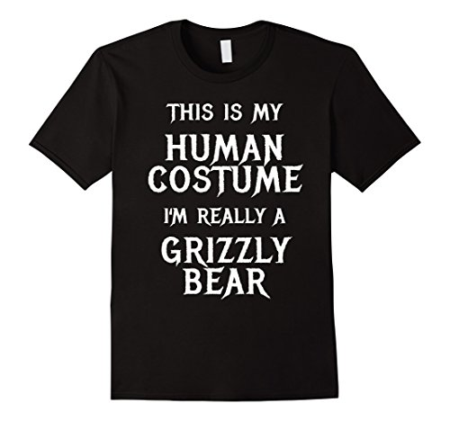 Grizzly Bear Costumes (Mens I'm Really a Grizzly Bear Halloween Costume Shirt Easy Funny Medium Black)