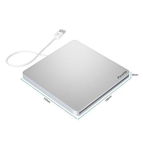 USB 2.0 External DVD Drive, Ultra Slim Portable CD DVD-RW / CD-RW Rewriter Burner super Drive For Mac, Macbook Pro Air iMAC , Laptops, Desktops, Notebooks Silvery by Ploveyy (Image #2)
