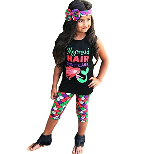 Mermaid Hair Don't Care 3PC Toddler Baby Girls Cute Mermaid Print T-shirt + Pants with Headband Outfit Clothing Sets (5-6 years, Black)]()