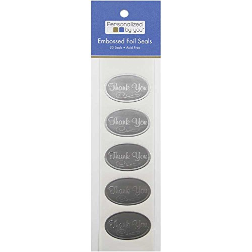JAM PAPER Foil Envelope Seal Thank You Stickers - 1 x 1/2 - Silver - 20/Pack