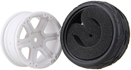 Mxfans RC 1: 10オンロード車ブラック魚スケールパターンラバータイヤ&ホワイトプラスチック6-spokeホイールリム12mmドライブ六角のセット4
