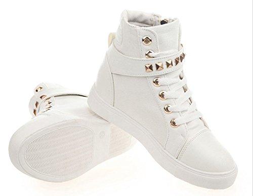 Rivet Lacets Basket Montante Toile Fermeture Éclair Plate Wealsex Casuel Chaussure Boucle Femme Blanc Confort Mode BIqa4wxw