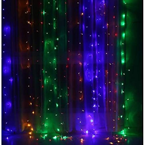 Fairy Package Tie (Jiayan 240 LED Curtain String Light for Christmas Wedding Party w/Free Extension Cable, Sticky Hooks & Cable Ties, Home Garden Bedroom Fairy Twinkle Starry Lamp Window Wall Decorations, Multicolor)