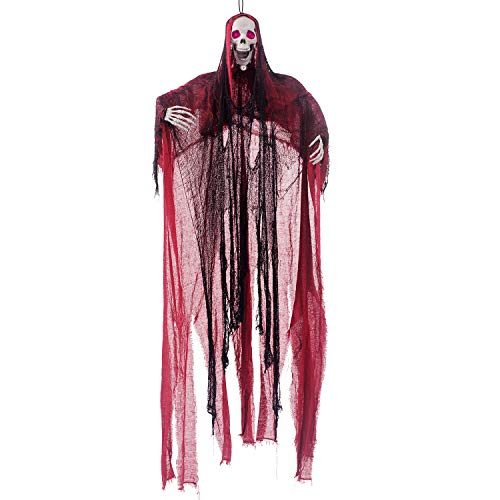 Scream Halloween Decorations (5.6 Ft. Animated Hanging Screaming Ghost Decoration, Halloween Skeleton Grim Reaper Door or Wall Curtain for Haunted House Prop)