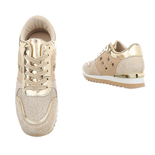 Ital-Design Chaussures Femme Baskets Mode Compensé Sneakers Espadrilles High Or G-127 mzQUC