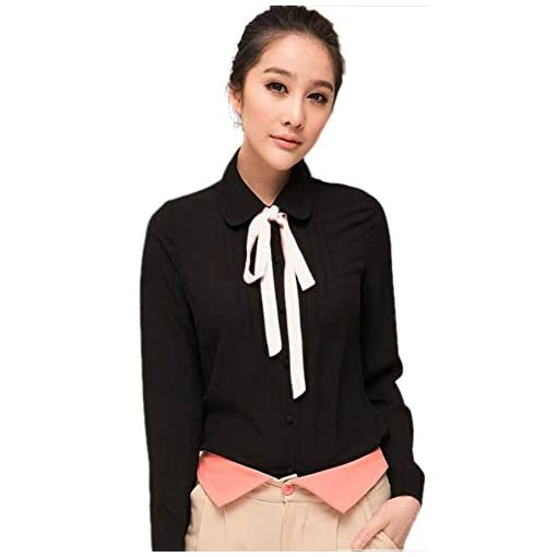 ETOSELL Lady Bowknot Baby Collar Long Sleeve OL Chiffon Button Shirt White