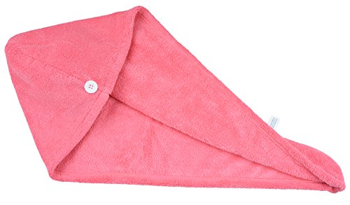 Price comparison product image HOPESHINE Microfiber Ultra Absorbent Large Hair Towel Head Turban Bath Wrap Fast Drying Spa Wrap (Rose Red)