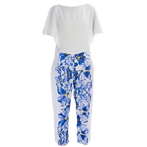 MaxMara Pianoforte Women's Kansas Floral Flutter Sleeve Jumpsuit Sz 8 White