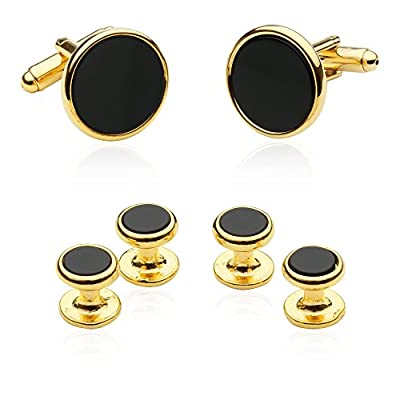 Tuxedo Cufflinks and Studs - Black Onyx with Gold Tone By Jewelry Mountain