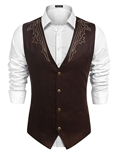 (COOFANDY Men's Casual Suede Leather Vest Single-Breasted Vest Jacket Coffe-4 X-Large)