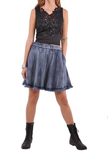 J Cute Flare Blue Denim Skirt