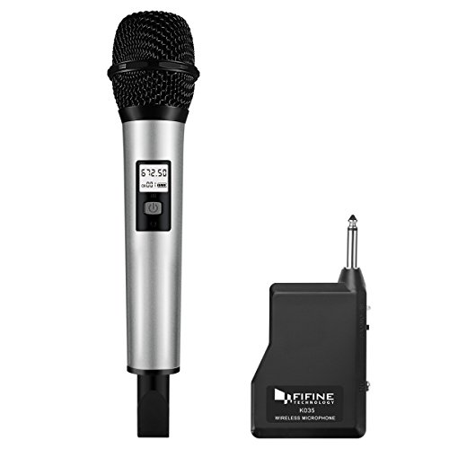 Fifine 25 Channel UHF Handheld Wireless Microphone For Church,Home Karaoke, Business Meetings.Easy To Set Up.(K035)