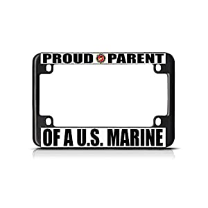 Proud Parent of A U.S. Marine Black Metal Bike Motorcycle License Plate Frame Perfect for Men Women Car garadge Decor