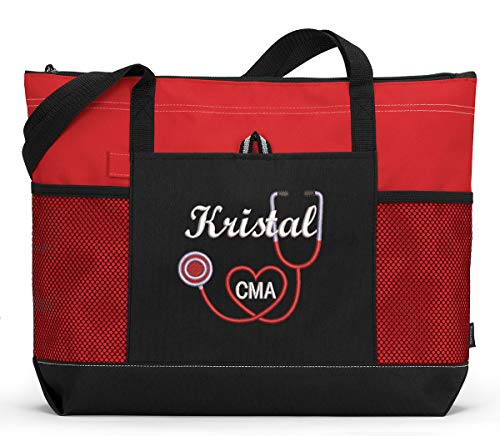 RN, LPN, CNA, Nurse, Medical Personnel Personalized Embroidered Tote Bag -