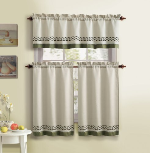 Amazon Kitchen Curtains Discount Store: 3 Piece Kitchen Curtain Set : 1 Valance, 2 Tiers, Solid