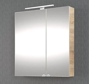Planetmöbel Spiegelschrank Badezimmer mit LED Beleuchtung 60 cm (Sonoma  Eiche)