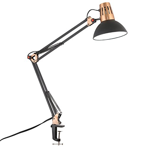 Light Society Yukon Task Lamp, Sand Textured Black Shade and Body with Brushed Copper Finish, Modern Industrial Mid-Century Lighting Fixture (LS-T204-BLK) ()